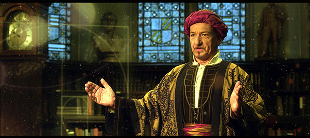 Academy award winner Ben Kingsley, as Al-Jazari, in 1001 Inventions and the Library of Secrets, film for the 1001 Inventions exhibition